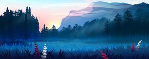 Preview wallpaper lawn, forest, mountains, fog, landscape, art