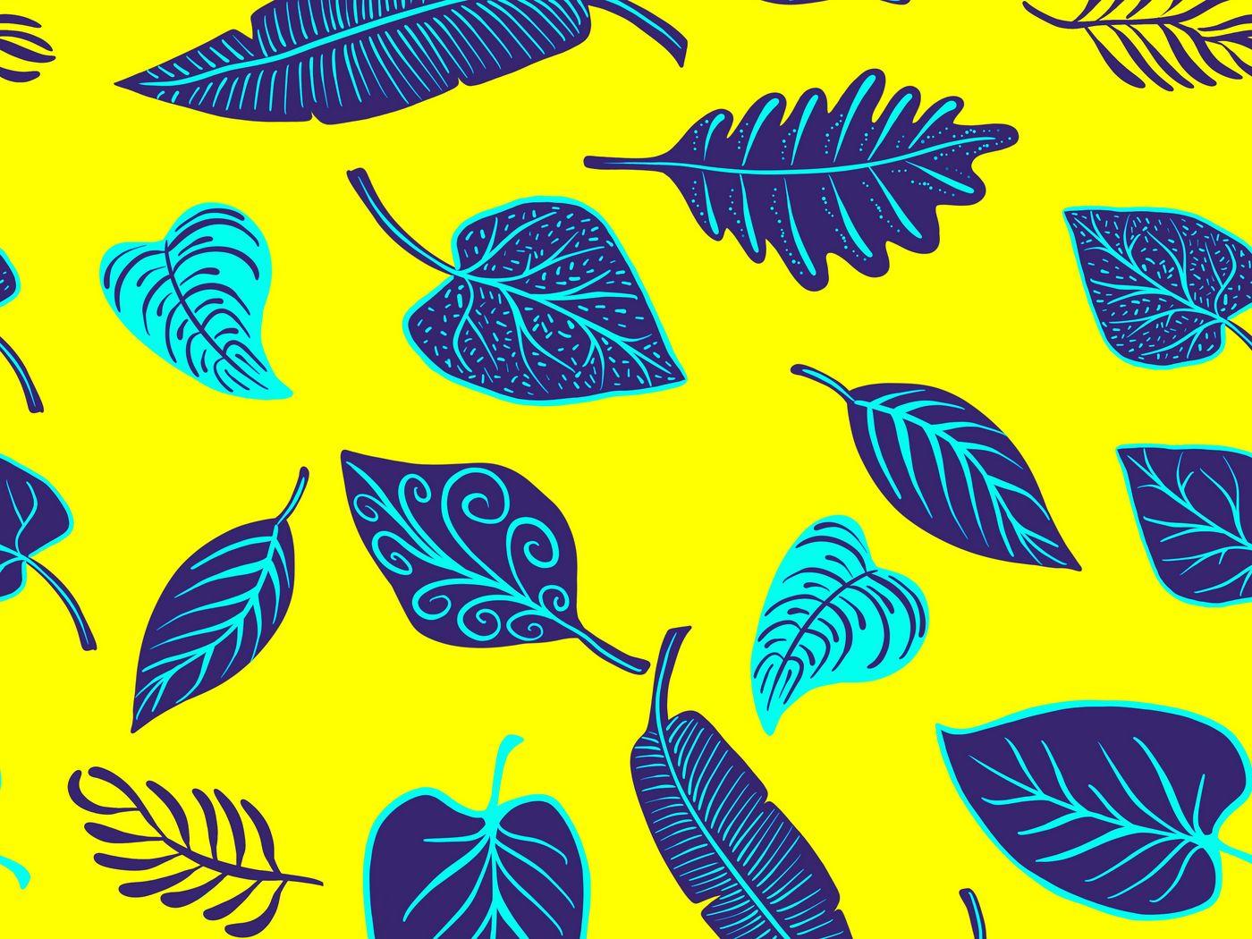 1400x1050 Wallpaper leaves, art, yellow, purple, shapes