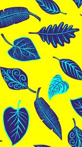 Preview wallpaper leaves, art, yellow, purple, shapes