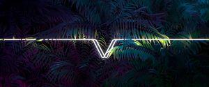Preview wallpaper leaves, line, neon, light, dark