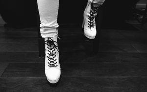 Preview wallpaper leg, boot, style, fashion, black and white