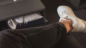 Preview wallpaper legs, jeans, sneakers, style, clothes