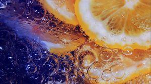 Preview wallpaper lemon, ice, water, macro