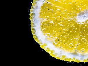 Preview wallpaper lemon, slice, bubbles, citrus, macro