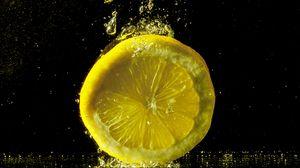 Preview wallpaper lemon, splash, spray, close-up