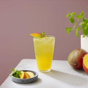 Preview wallpaper lemonade, cocktail, glass, drink, mango