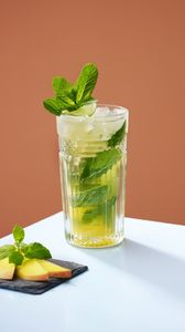 Preview wallpaper lemonade, mint, glass, minimalism