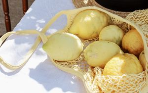 Preview wallpaper lemons, bag, hat, table, citrus