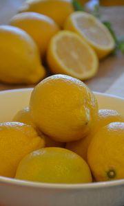Preview wallpaper lemons, fruit, citrus, bowl, yellow