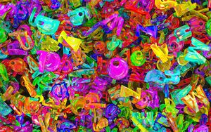 Preview wallpaper letters, colorful, pattern, volume, 3d