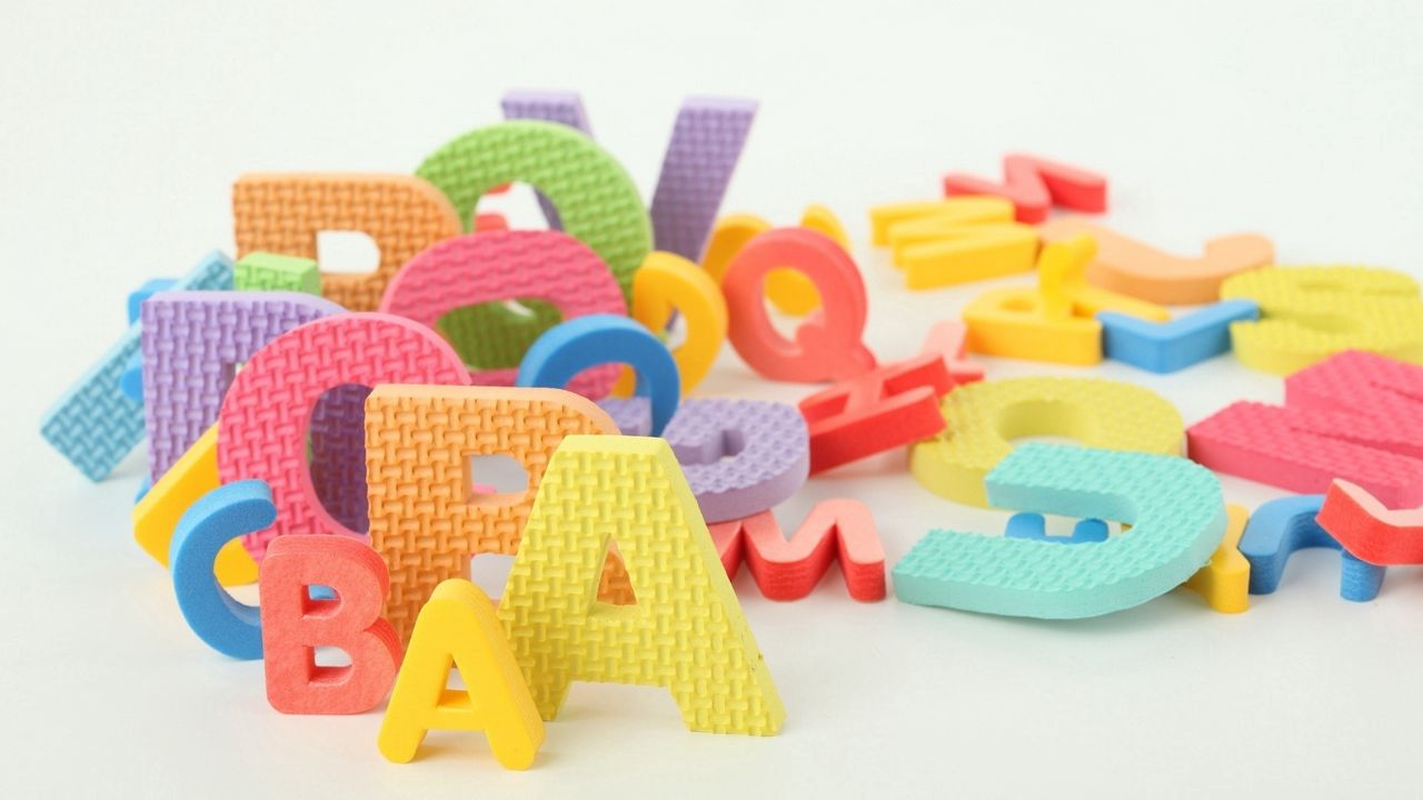 Wallpaper letters, many, multi-colored, development, children