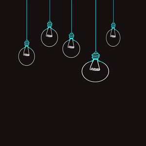 Preview wallpaper light bulb, drawing, vector, minimalism, black background