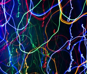 Preview wallpaper light, lines, long exposure, freezelight, distortion, abstraction, colorful