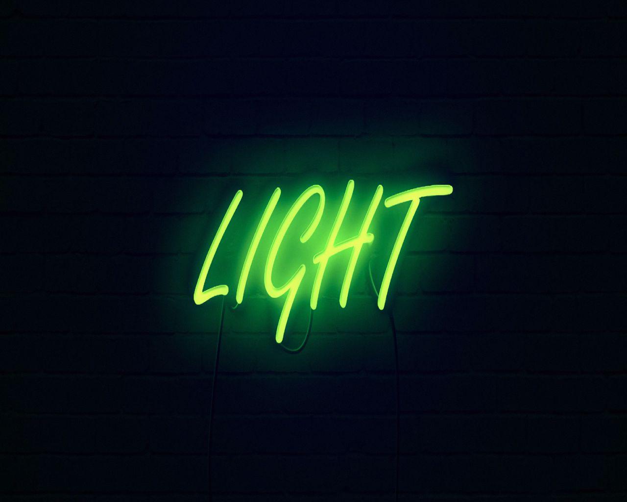 1280x1024 Wallpaper light, neon, inscription, dark, yellow