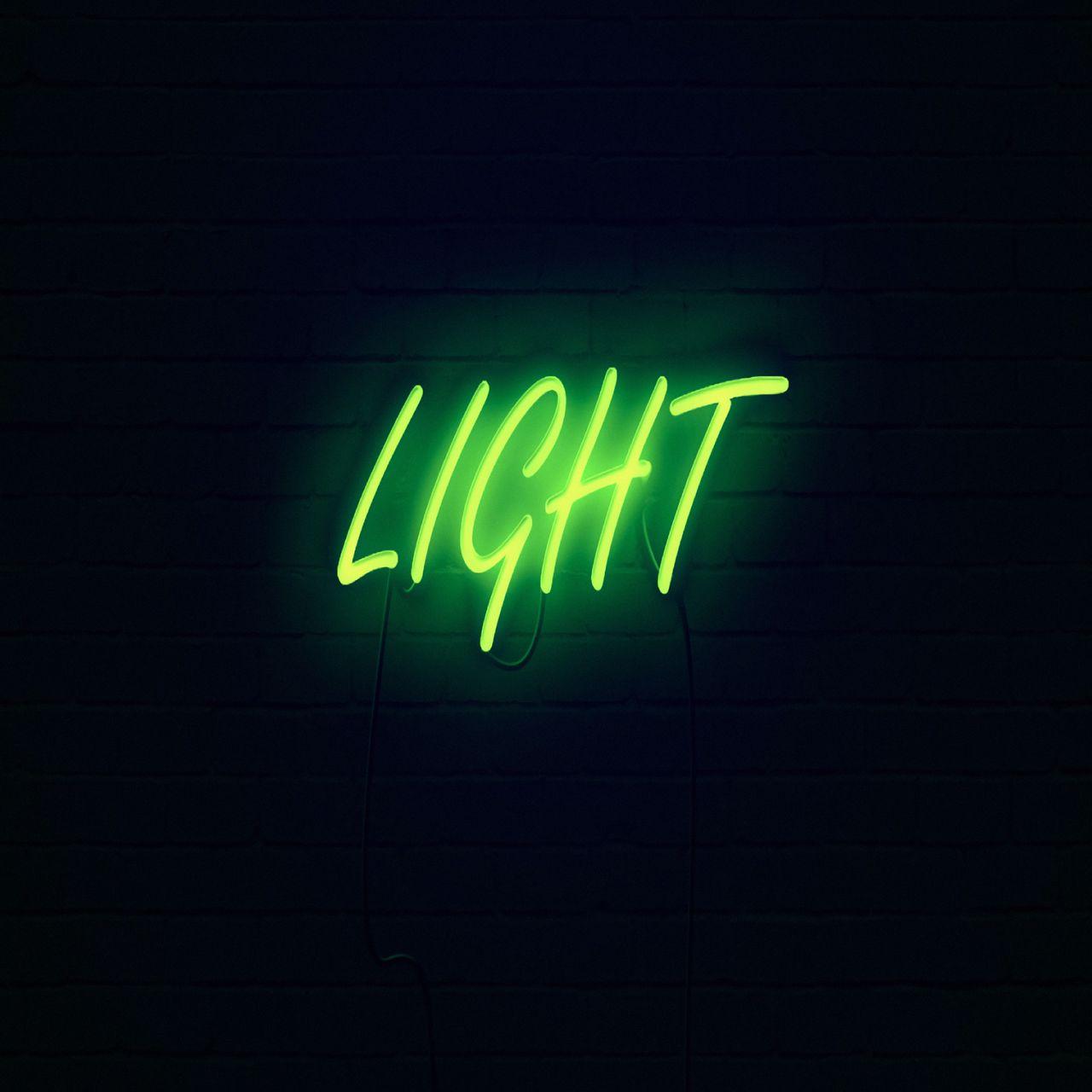 1280x1280 Wallpaper light, neon, inscription, dark, yellow