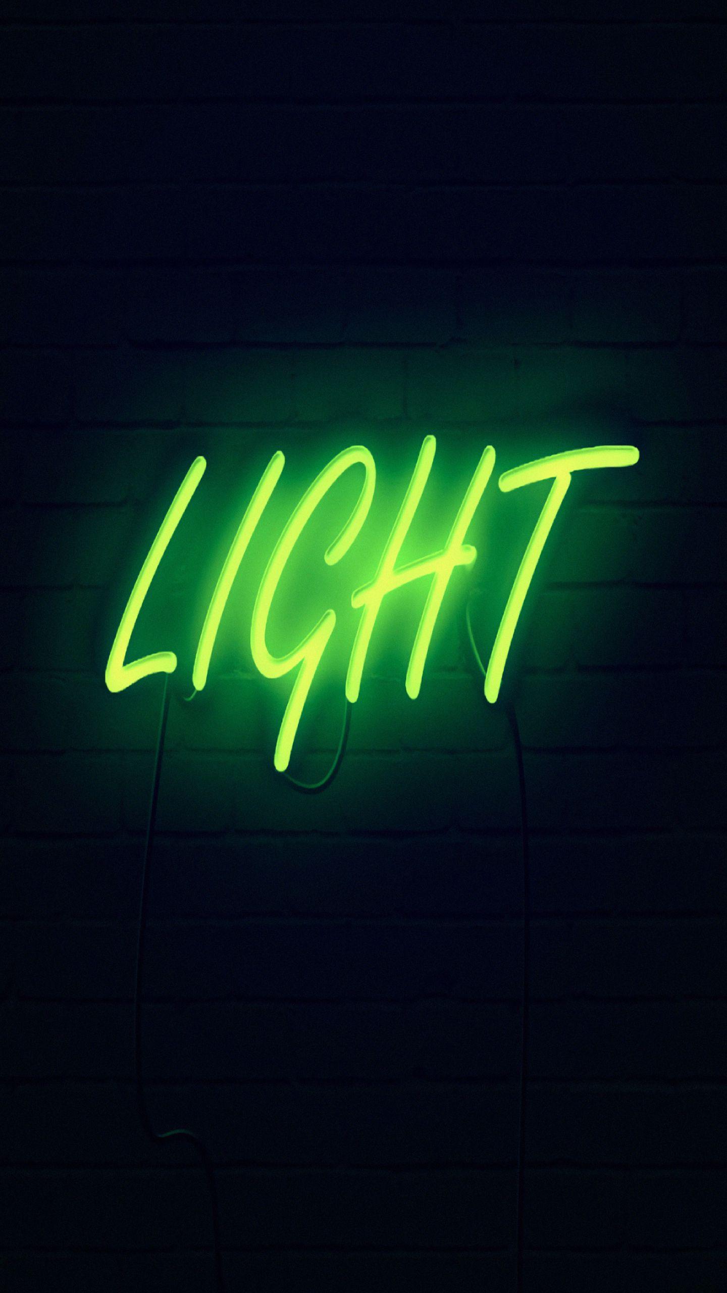 1440x2560 Wallpaper light, neon, inscription, dark, yellow