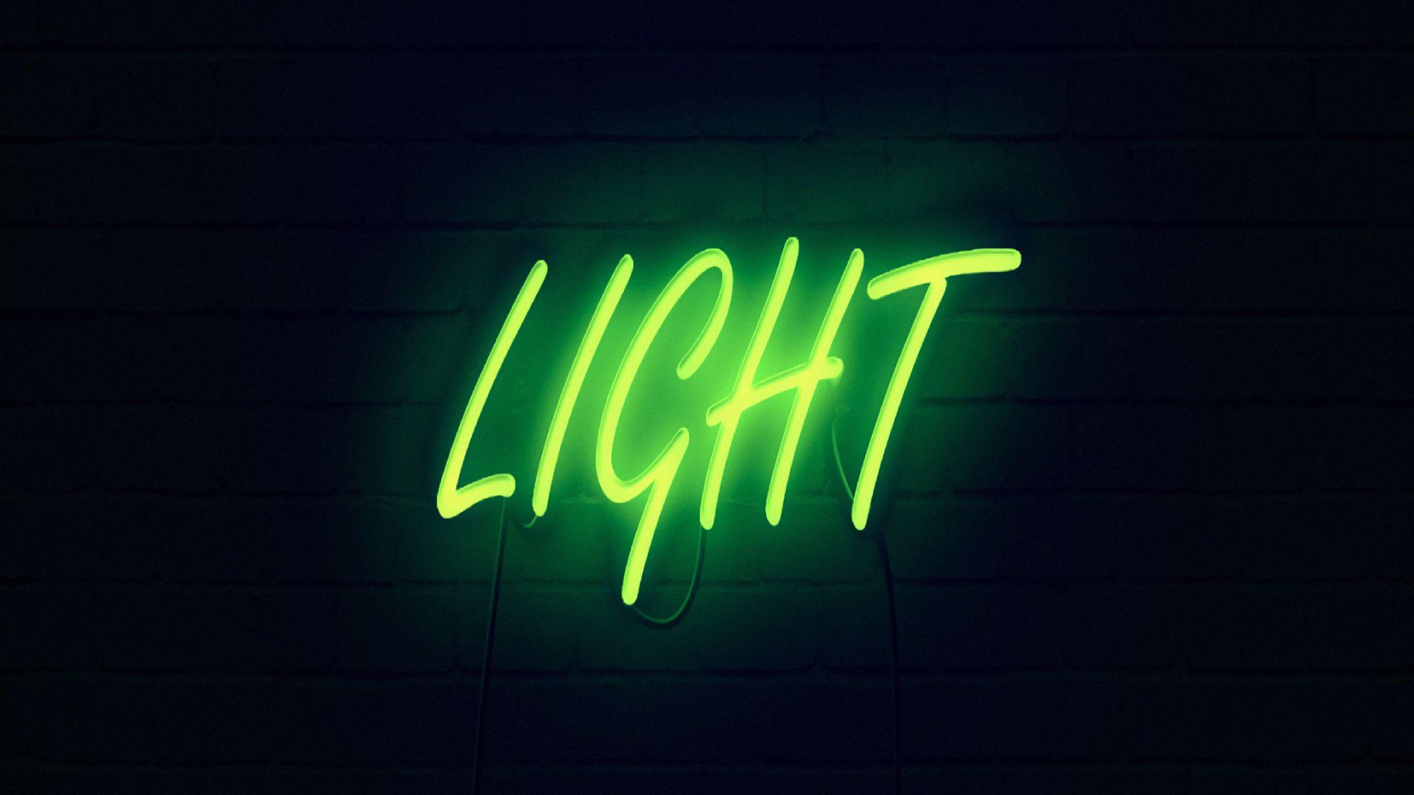 2048x1152 Wallpaper light, neon, inscription, dark, yellow