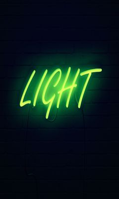 240x400 Wallpaper light, neon, inscription, dark, yellow