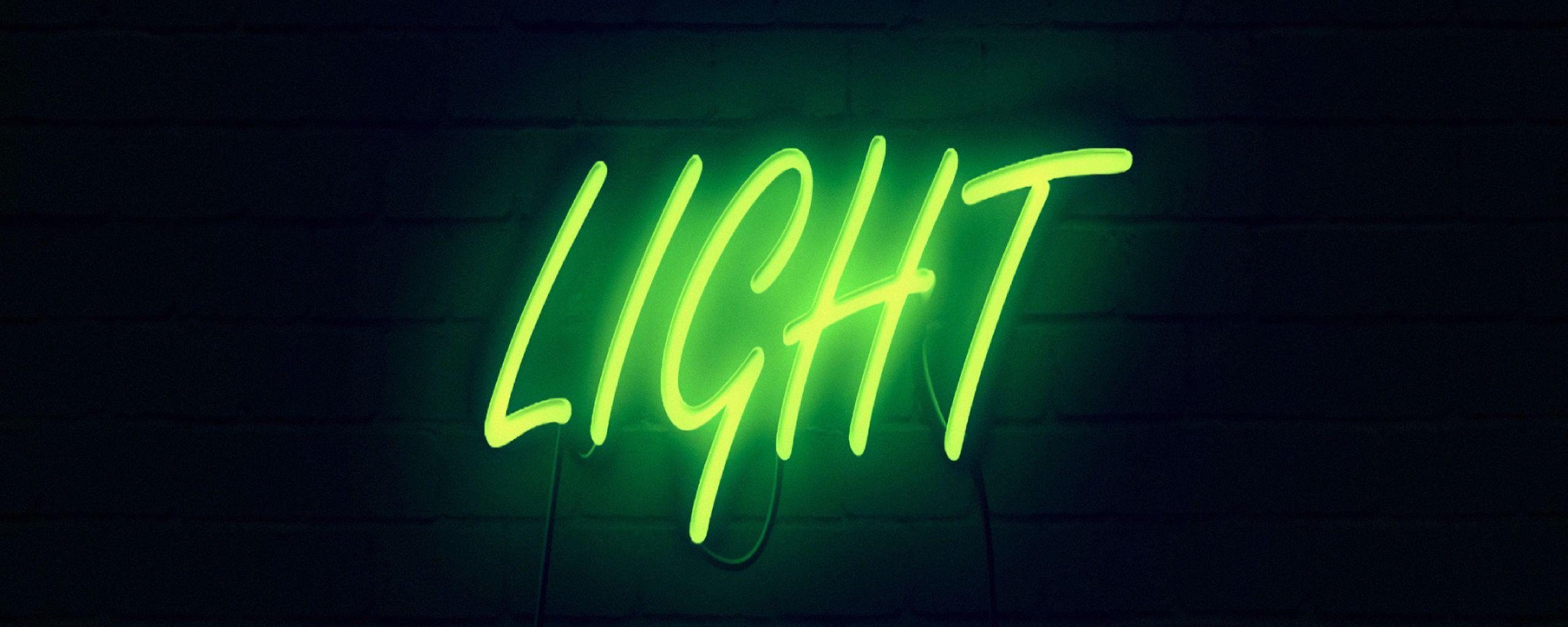 2560x1024 Wallpaper light, neon, inscription, dark, yellow