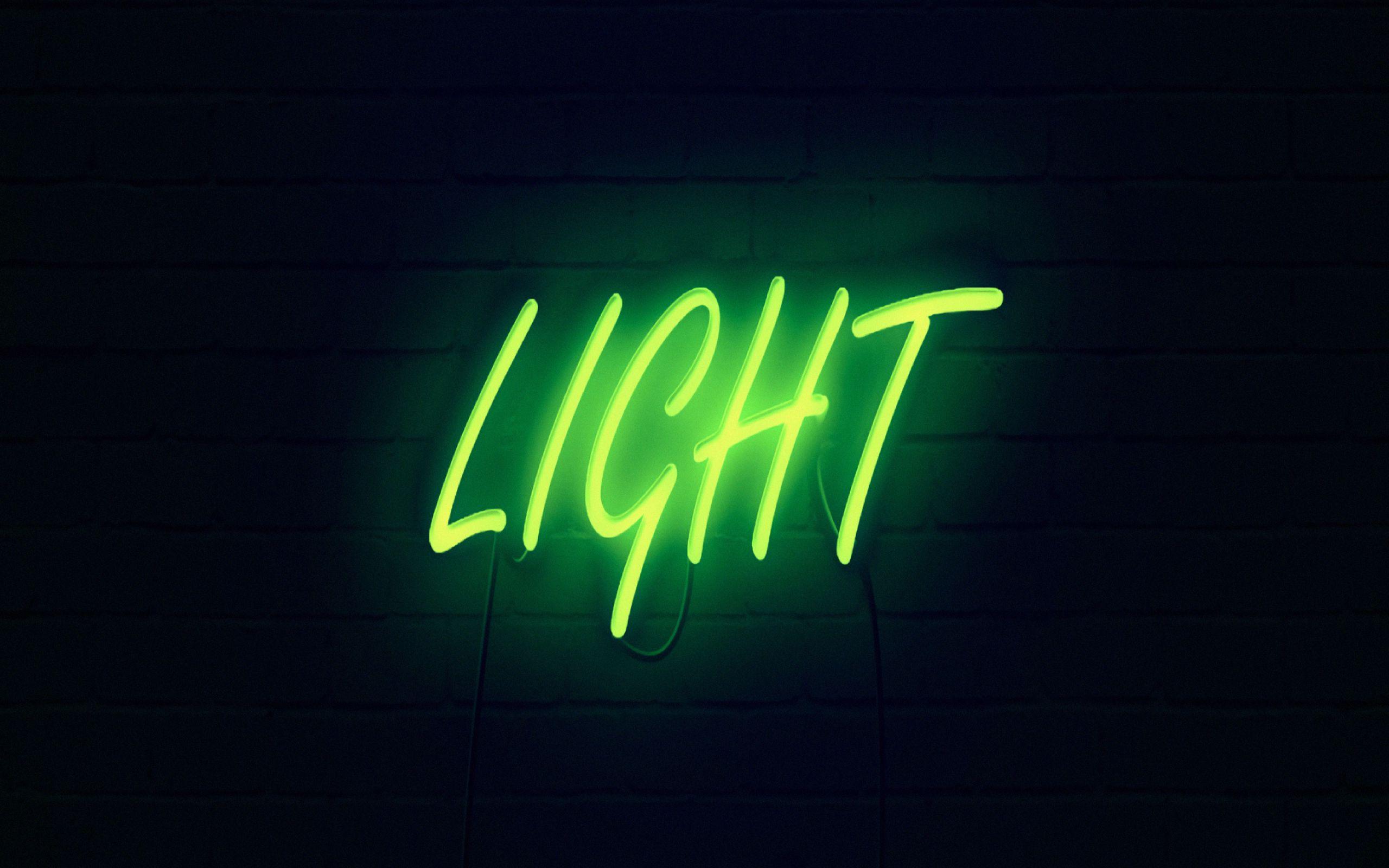 2560x1600 Wallpaper light, neon, inscription, dark, yellow