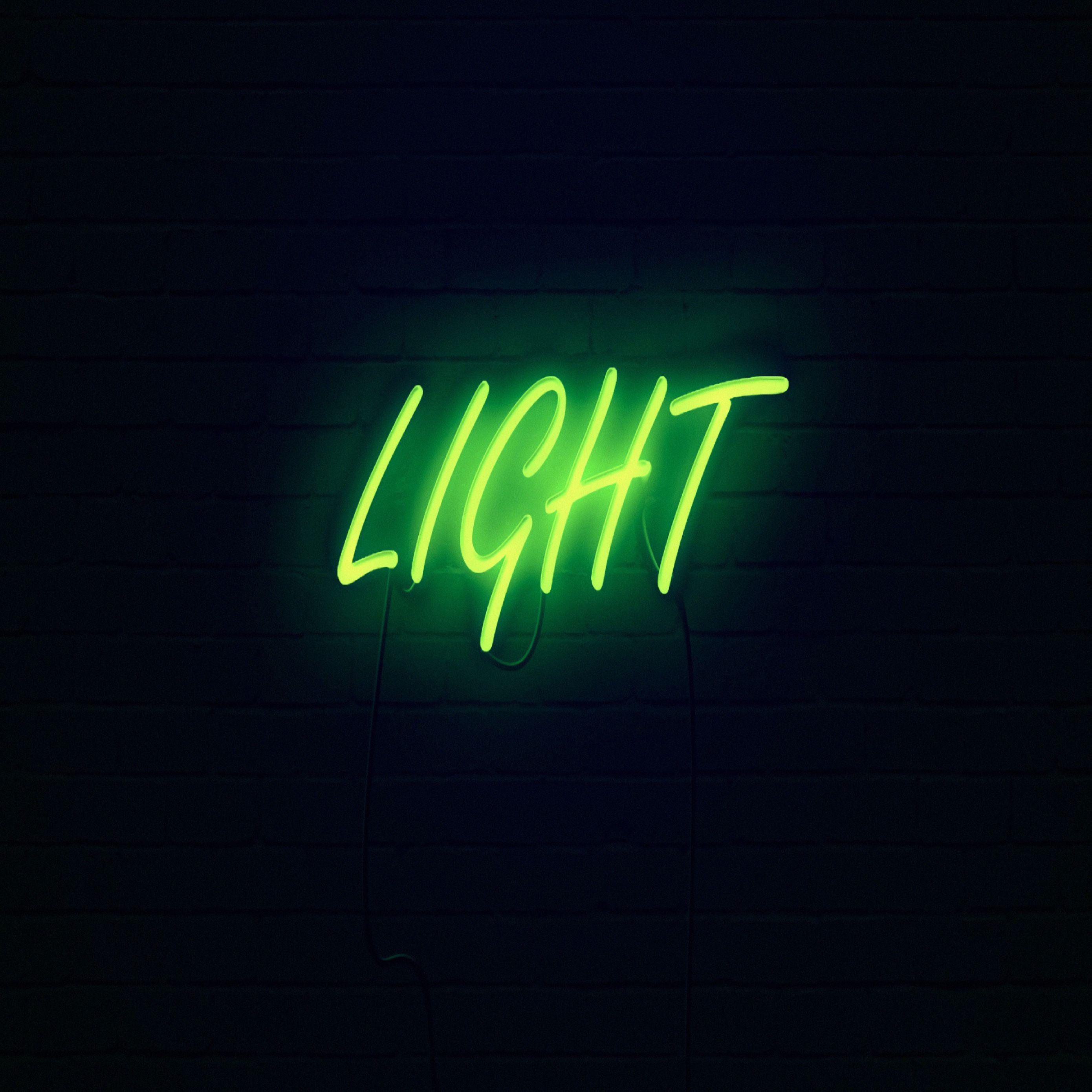 2780x2780 Wallpaper light, neon, inscription, dark, yellow