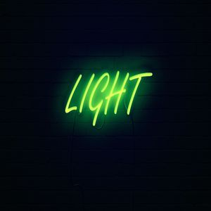 Preview wallpaper light, neon, inscription, dark, yellow