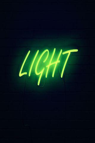 320x480 Wallpaper light, neon, inscription, dark, yellow