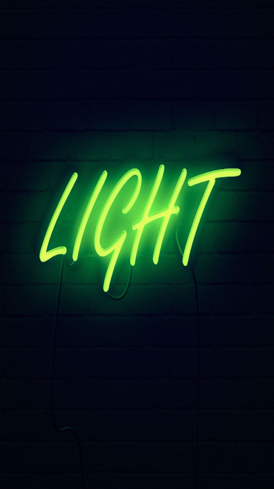 938x1668 Wallpaper light, neon, inscription, dark, yellow