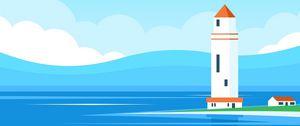 Preview wallpaper lighthouse, building, sea, art, vector