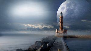 Preview wallpaper lighthouse, moon, pier, sea
