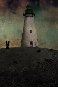 Preview wallpaper lighthouse, mouse, drawing, evening, shadows
