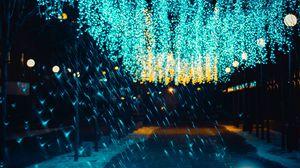 Preview wallpaper lighting, illumination, street, decoration, glare, bokeh