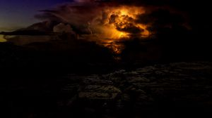 Preview wallpaper lightning, cloudy, storm, thunder, twilight