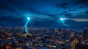 Preview wallpaper lightning, sparks, city, night, lights