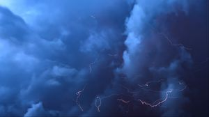 Preview wallpaper lightning, thunderstorm, clouds, overcast