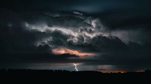 Preview wallpaper lightning, thunderstorm, cloudy, clouds, sky