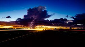 Preview wallpaper lightning, thunderstorm, overcast, road, night, traffic
