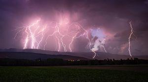 Preview wallpaper lightning, thunderstorm, overcast, night, sky, horizon