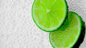 Preview wallpaper lime, slices, bubbles