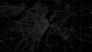 Preview wallpaper line, black background, route, map