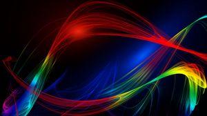 Preview wallpaper lines, wavy, multicolored, abstraction, plexus
