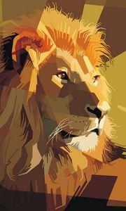 Preview wallpaper lion, art, vector, lines, stripes