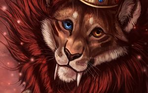 Preview wallpaper lion, crown, art, king of beasts, king
