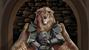 Preview wallpaper lion, warrior, armor, sword, wings, art