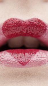 Preview wallpaper lips, lipstick, heart, emotion, mood