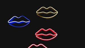 Preview wallpaper lips, neon, colorful, glow, dark