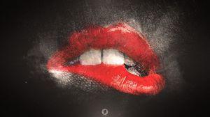 Preview wallpaper lips, teeth, lip balm