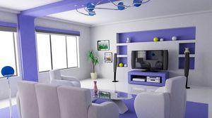 Preview wallpaper living, graphics, design, interior, sofa, chair, cinema, chandelier