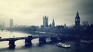 Preview wallpaper london, big ben, night, river, building, top view, black white
