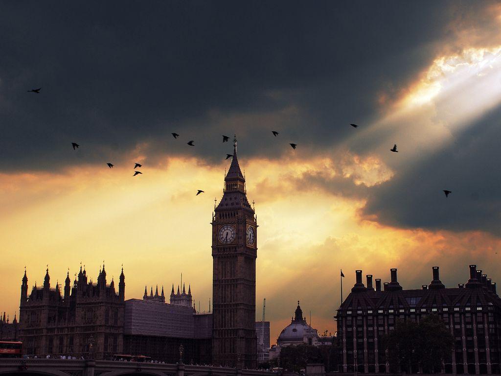 1024x768 Wallpaper london, big ben, sunset, shadow, sky